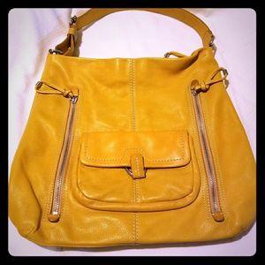 Banana Republic Mustard Yellow Two Tone Tote Bag